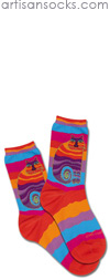K. Bell Laurel Burch Wavy Stripe Rainbow Cat Cotton Socks
