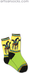 K. Bell Laurel Burch Rainbow Giraffes - Yellow / Green Cotton Socks