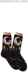 K. Bell Laurel Burch Mystic Moon - Black Cotton Crew Socks (Calf Socks)