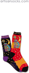 K. Bell Laurel Burch Celestial Cat Black Cotton Crew Socks (Calf Socks)