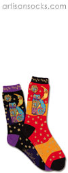 K. Bell Laurel Burch Celestial Cat Orange Cotton Crew Socks (Calf Socks)