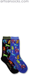 K. Bell Laurel Burch Dog Portraits Black Cotton Crew Socks (Calf Socks)