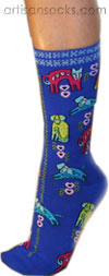 K. Bell Dog Portraits Royal Blue Cotton Crew Socks (Calf Socks)
