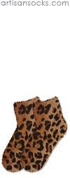 K. Bell Tan Leopard Sport Fur Sock - Animal Print Anklet / Ankle Socks