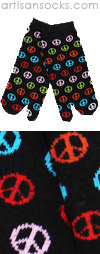 K. Bell Multicolor Peace Sign Toe Socks - Tabi Socks