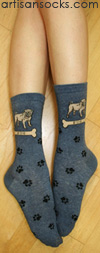 K. Bell Denim Blue Pug Crew Socks