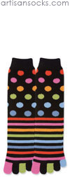 K. Bell Multicolor Stripes and Dots Toe Socks (Calf Socks)