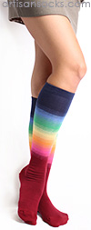 Gradient Striped Knee High Socks - Bright Rainbow Socks by K. Bell