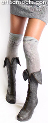 Shiny Silver Socks - Silver Over the Knee Socks by K. Bell