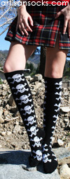 K. Bell Black Skull Cotton Knee High Socks