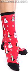 Penguin and Snowmen Socks - Holiday / Christmas Socks by K. Bell