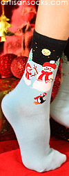 K. Bell Snowmen and Friends Winter Holiday Socks
