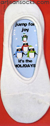 K. Bell Sock Cards - Jump for Joy Holiday Card - White No Show Socks