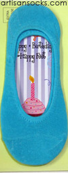 K. Bell Sock Cards - Socks With Thoughts - Happy Birthday - Turquoise Socks