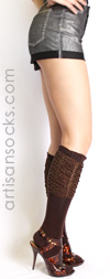 K. Bell Brown Ruched Knee High Socks with Gold Sparkle