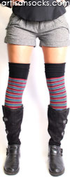 Bright Multicolor Soft and Dreamy Striped OTK Over The Knee Socks