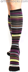 K. Bell Multicolor Striped Black Cotton Knee High Knee Socks