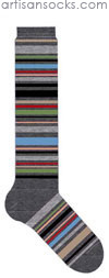 K. Bell Multicolor Stripe Knee High - Charcoal Cotton Knee High Knee Socks