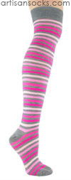 K. Bell Gray and Pink Striped Over The Knee Socks (OTK)
