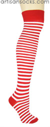 K. Bell Over the Knee Striped Socks - RED / WHITE