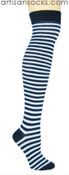 K. Bell Over the Knee Striped Socks - NAVY / BLUE