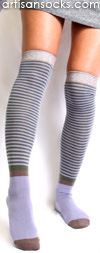 Vintage Stripe Over the Knee Sock with Silver, Olive & Lavender