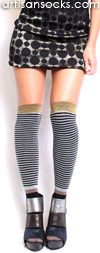 Vintage Stripe Over the Knee Sock with Gold by K. Bell - Black, Sky Blue and Grey