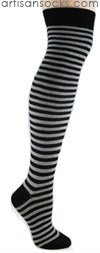 K. Bell Over the Knee Striped Socks - GREY / BLACK