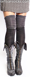 Gray and Black Striped Thigh High Socks with Ruched Top by K. Bell