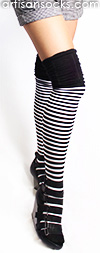 Black and White Striped Thigh High Socks with Ruched Top by K. Bell