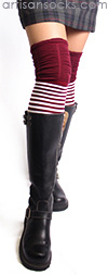 Deep Red and White Striped Thigh High Socks with Ruched Top by K. Bell