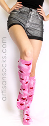 K. Bell Knee High Socks - Hearts and Tie Dye Socks