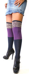 Knit Color Block Over The Knee Sock by K-Bell
