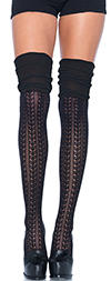 Pointelle Knit Thigh High Socks with Scrunch Top - BLACK