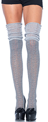 Pointelle Knit Thigh High Socks with Scrunch Top - GRAY