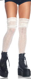 Pointelle Knit Thigh High Socks with Scrunch Top - IVORY