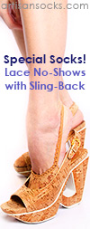 Lace No Show Socks with Sling Back - Nude Heel Socks