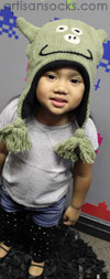 Kids Animal Hat: Green Pig Animal Beanie with Ear Flaps for kids!