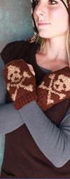 Skull and Crossbones Fingerless Gloves with Fleece Lining- in 2 Colors!