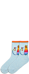 Laurel Burch Rainbow Cat Socks with Bird on Chambray