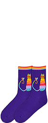 Laurel Burch Rainbow Cat Socks with Bird on Purple