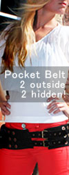 Black Leather Pocket Belt - Travel / Festival Belt with Pockets