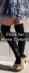 Knit Leg Warmers with Side Snap Buttons Black