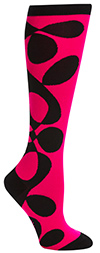 Magenta and Black Twisted Funky Knee High Socks by Mondo Guerra