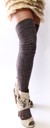 Marled Brown Over the Knee Socks