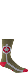 Men's Green Army Star Crew Socks