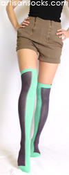 Minga Berlin Two Tone Socks - Two Face Poolboy Over the Knee Socks