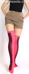 Minga Berlin Two Tone Socks - Two Face Ebony Pink Over the Knee Socks