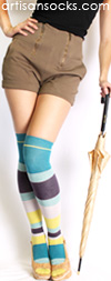 Minga Berlin Striped Over the Knee Socks - Layer Cake Waterfall Lime OTK