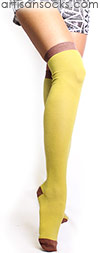 Minga Berlin Yellow Over the Knee Socks - The Colors Ginger OTK